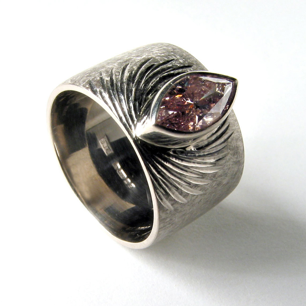 """<a href=""""/jewellery/ring-3"""">Dress ring, 18ct white gold, hand engraved, pink marquise diamond.</a>"""