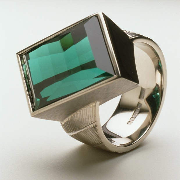 """<a href=""""/jewellery/ring-15"""">Dress ring, 18ct white gold, hand engraved, rare blue tourmaline. Commission piece. Photo: Joel Degen</a>"""