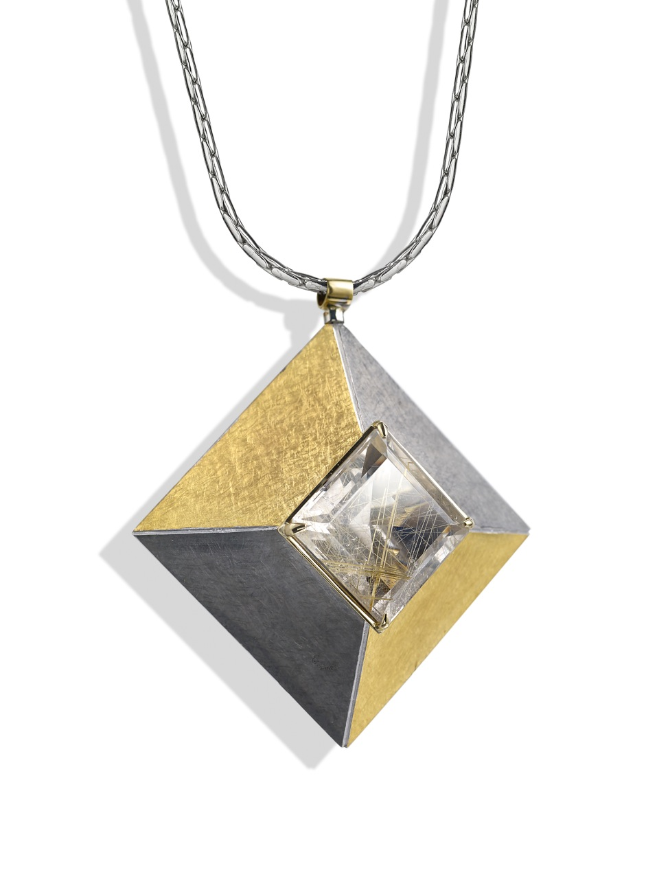 """<a href=""""/node/262"""">Cardinal Points :  Silver 5.0cm square, scrubbed finish finished in Black Rhodium and gilding,  stone setting 18ct gold, stone Rutilated Quartz . View 2 : side on showing truncated pyramid form. </a>"""