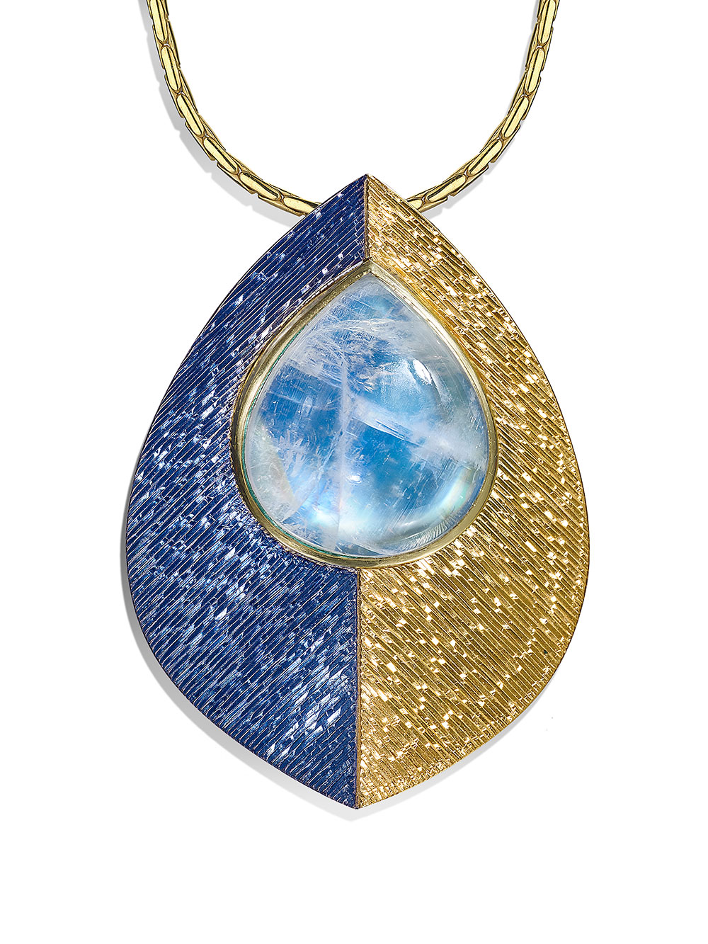 """<a href=""""/node/269"""">""""DROP OF MOONLIGHT""""  Silver and 18ct gold, Gilding and Rhodium plate / Hand Engraved / Set with drop cabouchon Moonstone  photo : Simon B Armitt 2017</a>"""