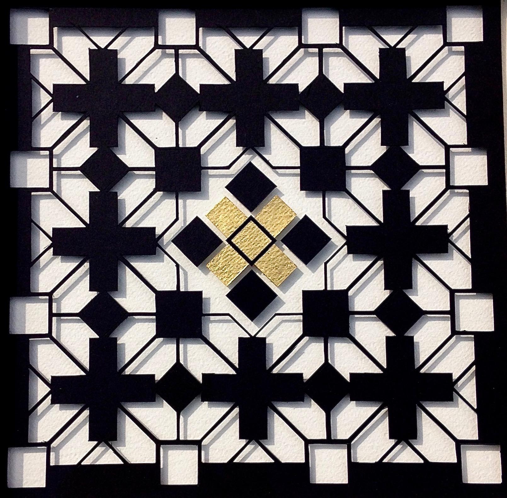 """<a href=""""/node/292"""">Paper Cut untitled. 20cm x 20cm / Black card / white board / gold leaf</a>"""