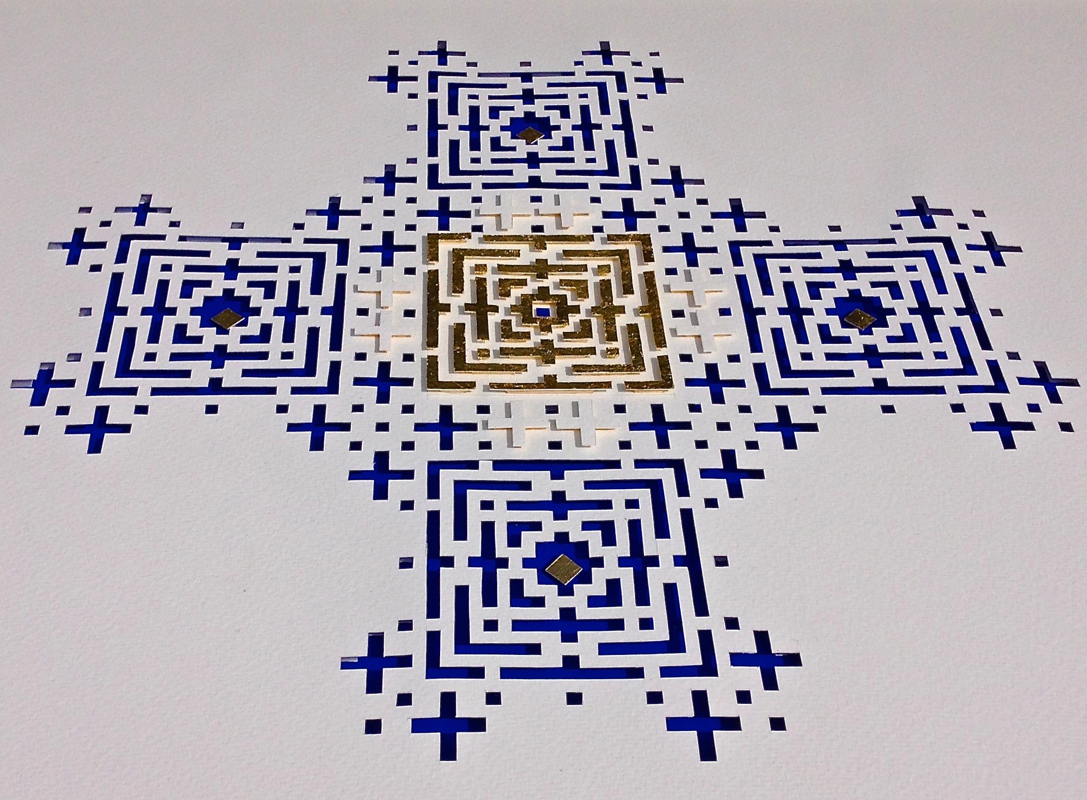 """<a href=""""/node/285"""">Untitled / white handmade paper, Cobalt Blue mount board, Gold leaf. </a>"""