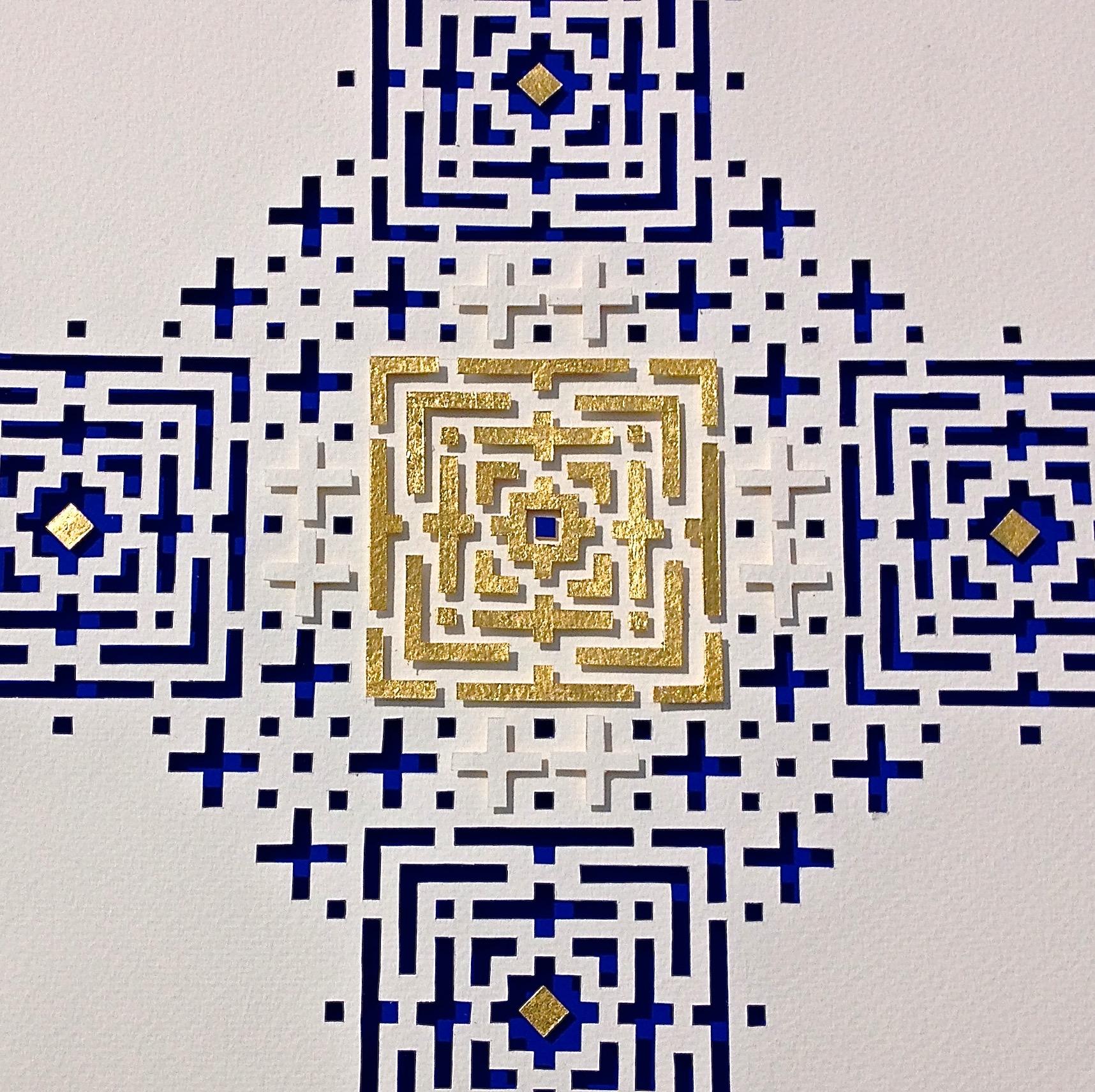 """<a href=""""/node/286"""">Untitled / white handmade paper, Cobalt Blue mount board, Gold leaf. </a>"""