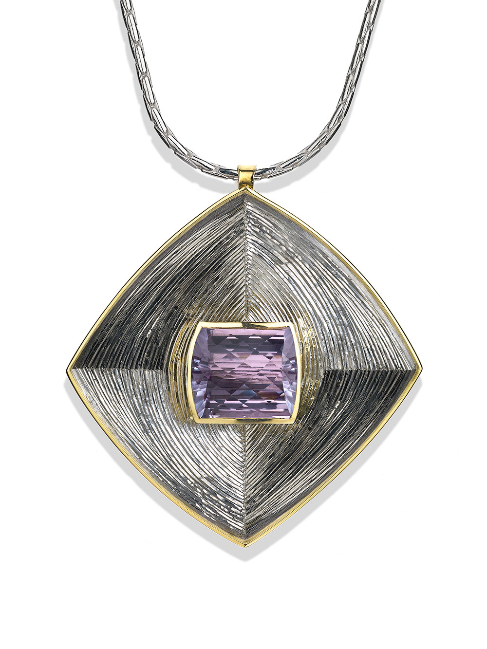 """<a href=""""/node/271"""">Square Pendent : Silver, hand engraved, Set with large Pale Amethyst in 18ct Gold. photo : Simon B Armitt</a>"""