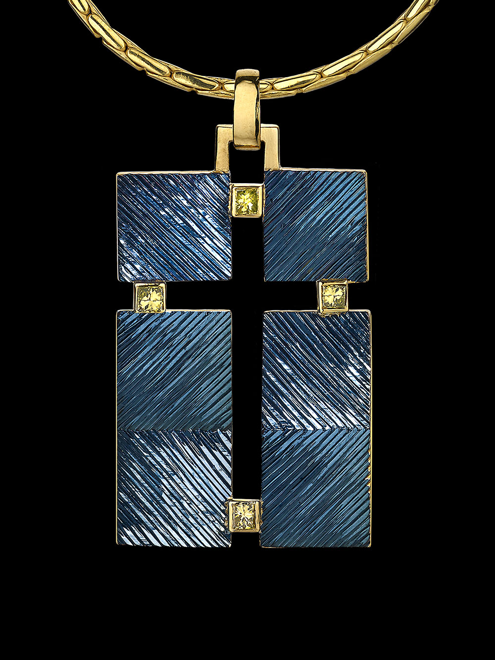 """<a href=""""/node/270"""">""""THE CROSS THAT ISN&#039;T THERE""""  Silver and 18ct gold, Gilding and Rhodium plate / Hand Engraved / Set with 4 square treated yellow diamonds. photo : Simon B Armitt 2017</a>"""