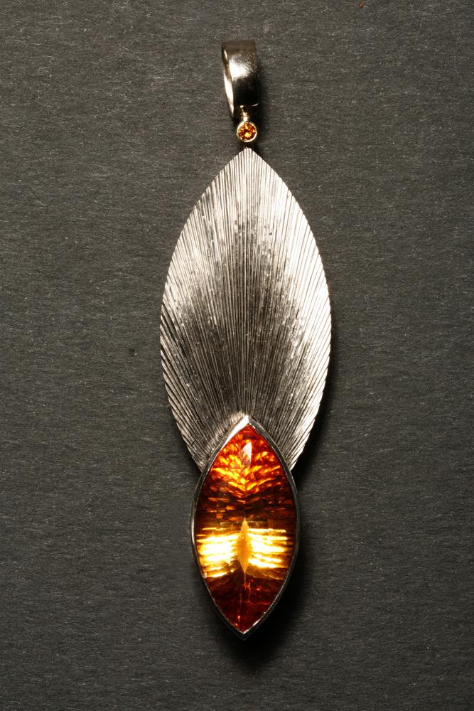 "<a href=""/jewellery/spark-and-source-pendant-18-ct-white-gold-citrine-and-flame-orange-diamond-height-8cm"">Spark and Source Pendant. 18 ct white gold, citrine and flame orange diamond. Height: 8cm, width: 2.4cm. Photo: Andra Nelki </a>"