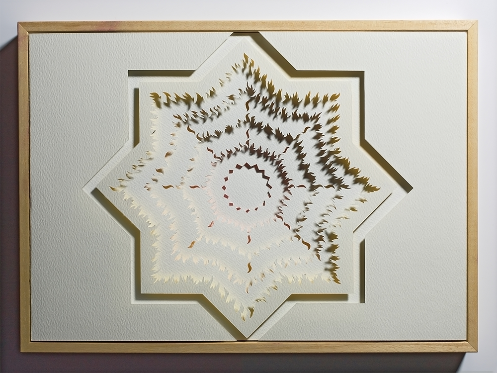 """<a href=""""/jewellery/paper-cut-thoughts-eight-pointed-star-1-2010-watercolour-paper-board-crayon-and-wood-frame"""">Paper Cut - Thoughts on an Eight Pointed Star 1 - 2010. Watercolour paper, board, crayon and wood frame. Work A3. out/dim/cm 44 x 32 x 5, photo Simon B Armitt</a>"""
